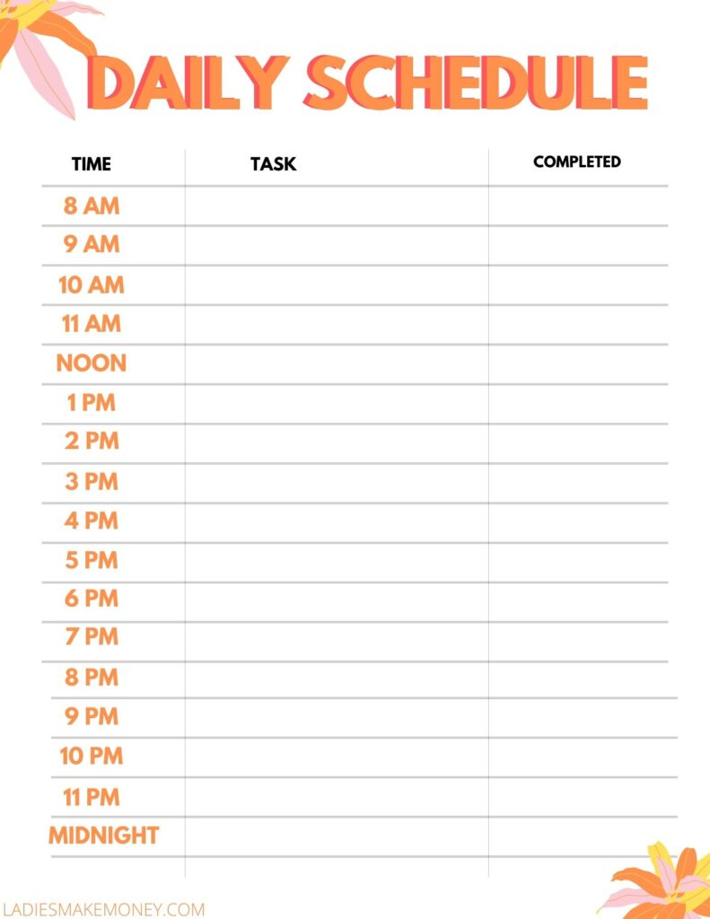 Daily routine mom schedule printable! Here is a daily schedule for moms to use! daily routine schedule for women at home! #dailyschedule #momschedule