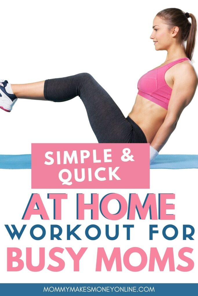 The best at-home workout for busy moms! Workout at home workout -- perfect for women, especially busy mamas! This strength training workout for women combines full body strength training exercises with quick HIIT cardio bursts, for an effective, quick workout you can do at home! #workouthome #busymoms