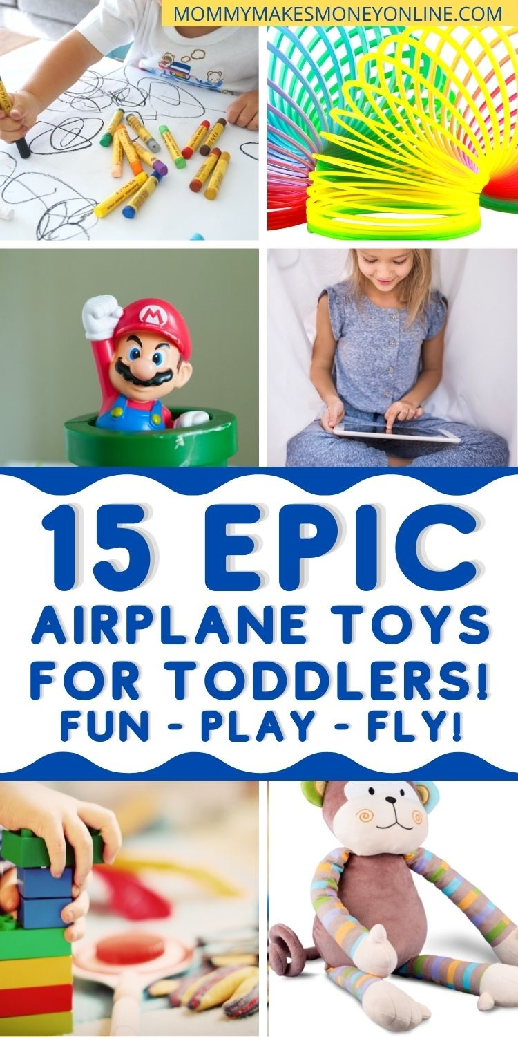 Best Airplane Travel Toys for Babies and Toddlers Don't worry about how you'll entertain your baby or toddler on the next flight! Before you fly with a baby or toddler, grab some of these travel toys and airplane activities for toddlers and babies. They are all easy to pack in your toddlers carry-on bag or won't take up too much space in yours. #airplaneactivities #traveltoys #toddlertravel